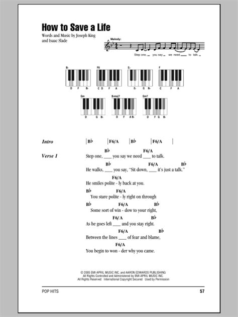 How To Save A Life Sheet Music   The Fray   Piano Chords