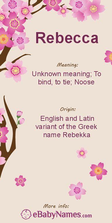 The origin & meaning of the name Rebecca   Names with